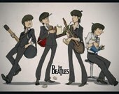 Ready to Hang11x17 Poster: The Beatles - Cartoon
