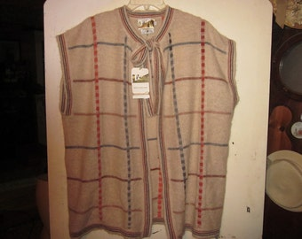 nwt vintage mohair vest sweater xl, cardigan,retro boho, tie front very cool