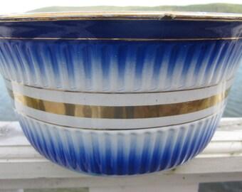 SALE...         vintage enamel bowl, large,blue with gold trim, czechoslovakia unusual,original labels