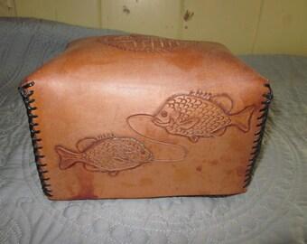 vintage handtooled handmade leather box, fish,indians cowboys,donkey dog