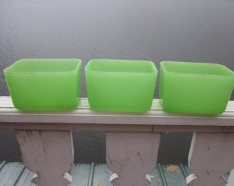 2 vintage jadite green glass refrigerator containers, no covers, country kitchen