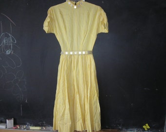 vintage summer yellow dress, pearl disc trim, back zip  small