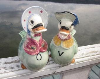 vintage cruet set, boy and girl ducks oil and vinegar bottles japan