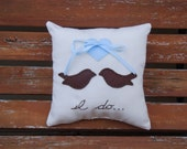 Love Birds I Do ring bearer pillow- baby blue and chocolate brown