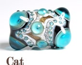 Blue, Black and Ivory Lampwork Focal Glass Bead