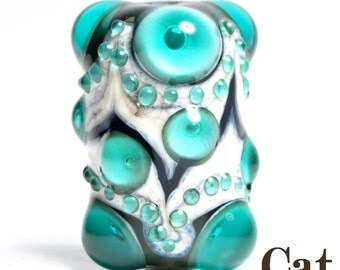 Teal, Black and Ivory Lampwork Focal Glass Bead