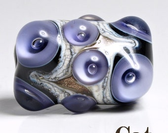 Violet, Black and Ivory Lampwork Focal Glass Bead