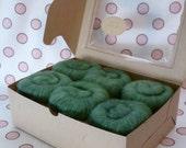 Spinning Fiber batts Mixed BFL & Silk  - 6 ounces  - Moss Garden