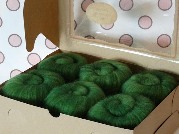 Spinning Fiber Batts - Cupcake Fiber SW BFL/Nylon Sock Fiber Batts - 6 ounces  - Basil