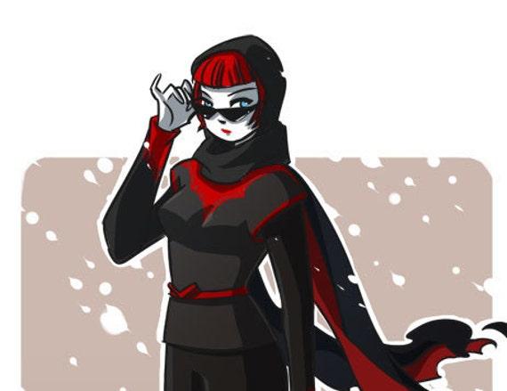Batwoman II in Scarf Art Print *SALE 50% OFF*
