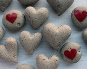 Mothers day gift - ceramic heart pebbles - wedding favor - beach decor
