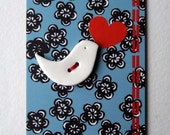 Ceramic gift  - lovebird button - mothers day gift - sewing project