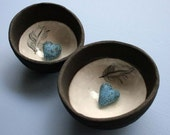 Ceramic bowl - feather and nest with blue love heart - Spring wedding gift
