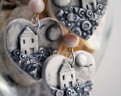 Handmade ceramic pendant- home is where the heart is-sea mist series
