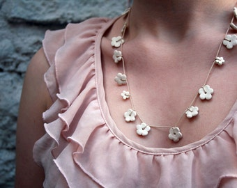 Handmade daisy chain-Womens necklace - white porcelain blossom flowers - ceramic jewellery - spring wedding garland