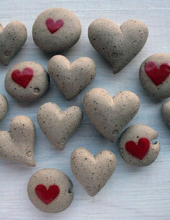 Stocking stuffer - ceramic heart pebbles
