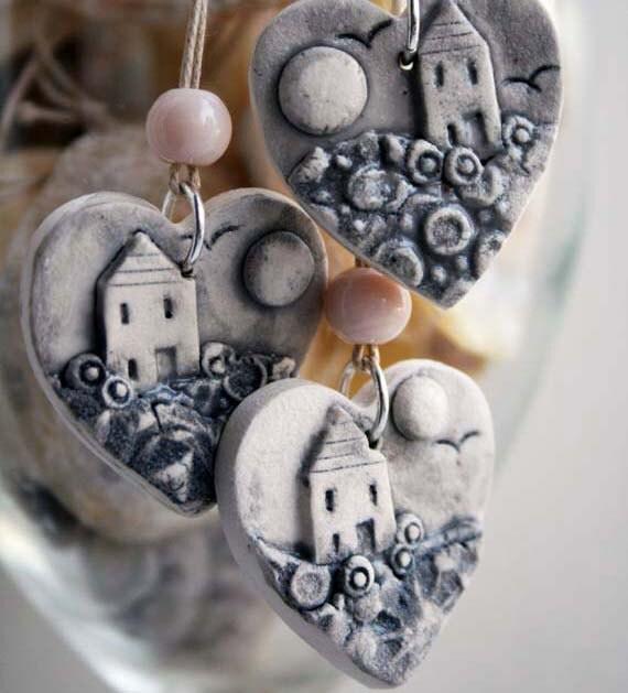 Handmade ceramic pendant- home is where the heart is-sea mist series