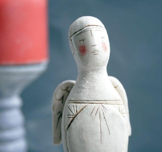 ceramic guardian angel figure-handmade angel-mothers day gift-blushing angel