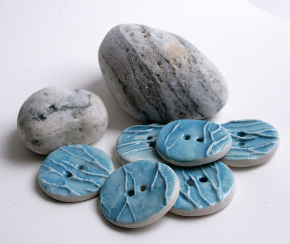 Set of 6 turquoise ceramic buttons - porcelain - water wood texture