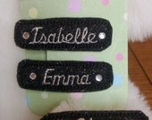 Felt Embroidered Hair Clip, Barrette, Clippie, Personalized with your name