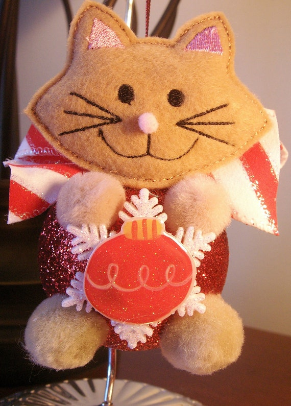 Items similar to holiday christmas ornament cat for Cat christmas ornaments craft