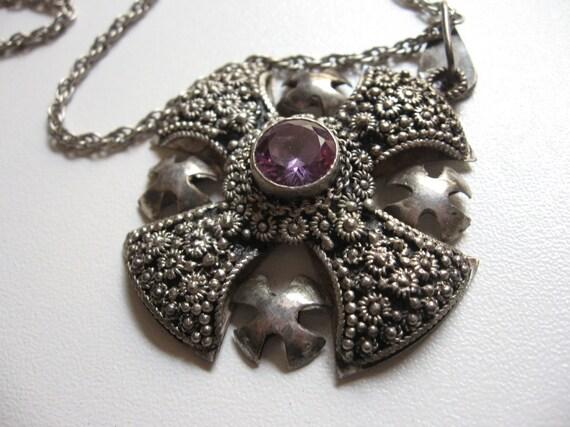 Vintage Sterling Silver Jerusalem Cross with Amethyst Pendant Necklace