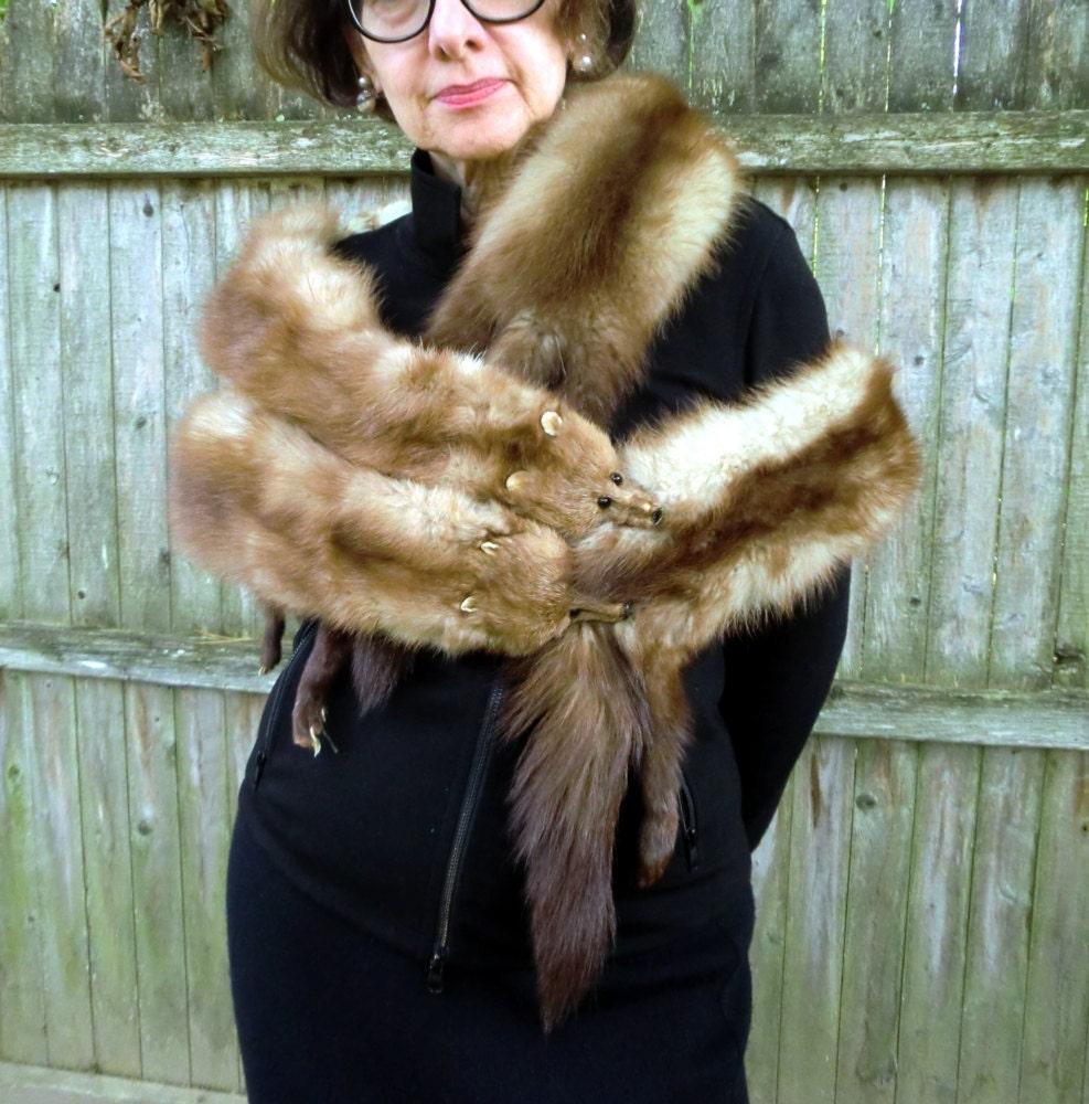Vintage stone marten fur stole by jojolaruevintage on etsy - Stoel fur ...
