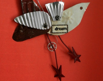 Altered Art Bird / Metal /  Altered Art Assemblage /  Dream