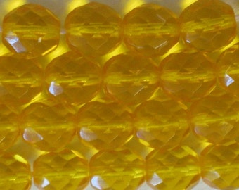 20 pieces Czech 10MM Fire Polish Glass beads yellow (CZ001)