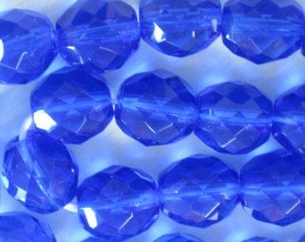 20 pieces Czech 10MM Fire Polish Glass beads Light Cobalt Blue (CZ004)