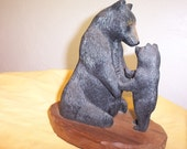 Wood carving OOAK black bear and cub rustic log cabin wildlife decor nature art sculpture hand made in Wisconsin by Old Bear Woodcarving - OldBearWoodcarving