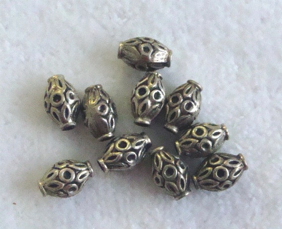Sterling Silver Bali Bead 10 x 6mm - 12