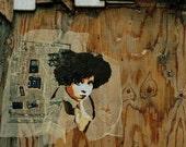 Stencil Graffiti street art London urban girl photography  Street Photo 8x8 print