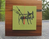 clever me Fox Reclaimed Redwood Clock in Chartreuse