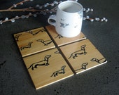 from here to there Dachshund Coasters in Reclaimed Cypress