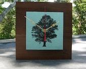 Under the Oak Tree Reclaimed Wood Clock in Aqua, Anniversary, Wedding Gift, Blue Clock