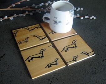 Dachshund Coasters, Dog Coasters, Doxie Gift, Cute Dog Gift, Reclaimed Wood
