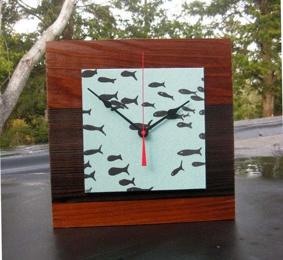 lost in the crowd Fish Reclaimed Redwood Clock in Aqua
