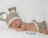 READY TO SHIP Baby Bunny Hat and Diaper Cover Set - Crochet Bunny Costume - Newborn Easter or Halloween Photo Prop