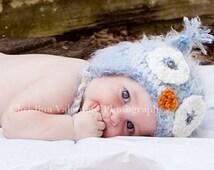 Baby Boy Owl Hat Soft and Fuzzy Newborn Photo Prop