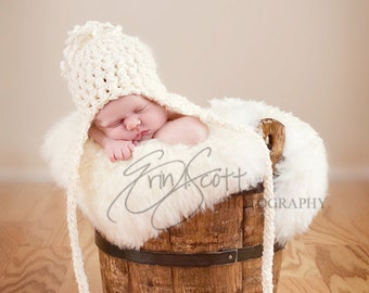 Newborn Crocheted Hat with Loose Pom, Extra Long Ear Flaps and Ties-Perfect Baby Photo Prop