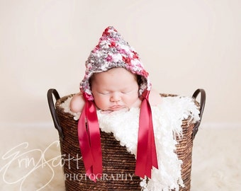 Baby Girl Pixie Bonnet Crocheted with Yarn and Ribbon--Perfect Newborn Photo Prop--Pinks, Gray and White