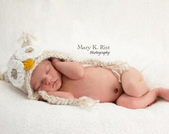 Baby Owl Hat--Beige Soft & Fuzzy Crochet  Newborn Photo Prop or Halloween Costume