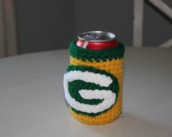Green Bay Packer Can Bottle Beverage Holder Football-Hand Crocheted