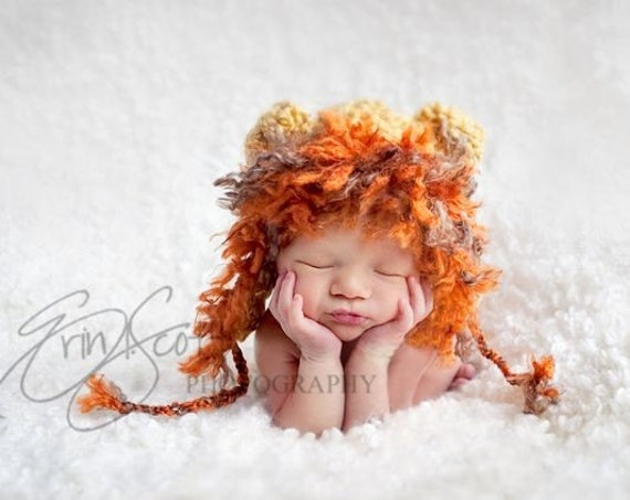 Newborn Lion Hat-Crocheted Lion Hat-Perfect Baby Photo Prop or Halloween costume