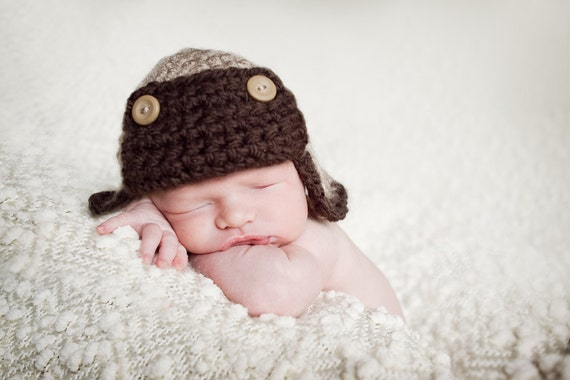 Newborn Aviator Hat with Flaps and Buttons--Perfect Newborn Photo Prop
