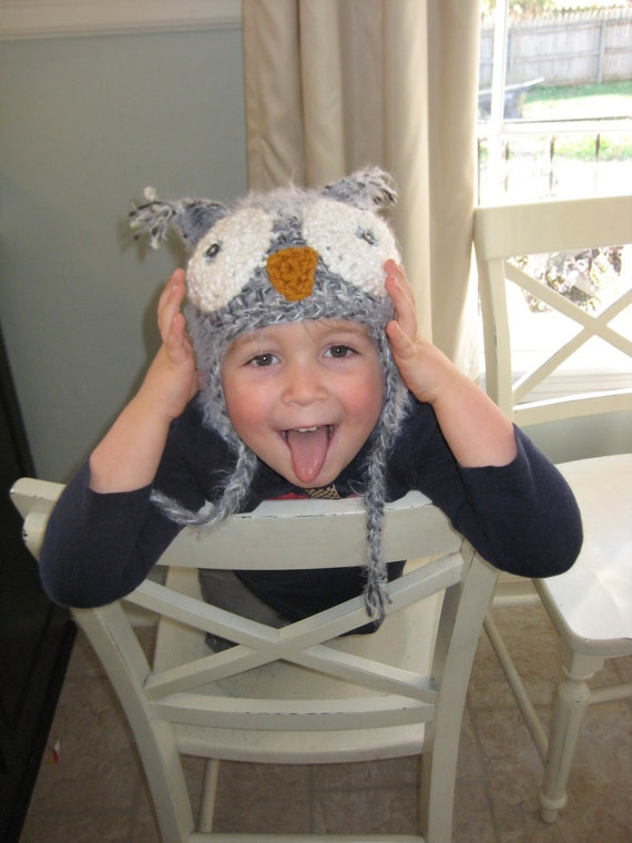 READY TO SHIP--Gray Toddler Owl Hat--Soft & Fuzzy Newborn Photo Prop