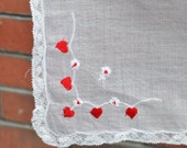 Vintage Hand Embroidered Red Hearts Handkerchief