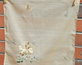 Vintage Hand Embroidered Tan Floral Handkerchief