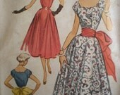 Till I Waltz Again With You, 1953 McCall's Semi-Formal Dress with Scalloped Neckline and Sash Sewing Pattern 9242, Size 14, Bust 32